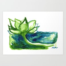 Green Lotus Art Print