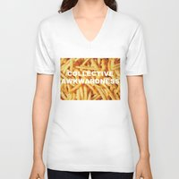 fries V-neck T-shirts featuring FRIES, ANYONE?  by Collective Awkwardness
