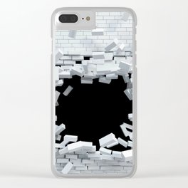 3D White Brickwall Bursting Shattering Ultra HD Clear iPhone Case