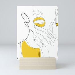 Bold Mustard Lip Mini Art Print