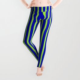 Blue and Light Green Colored Stripes/Lines Pattern Leggings