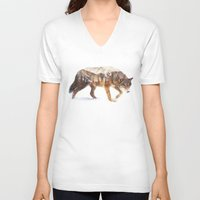 wolf V-neck T-shirts featuring Arctic Wolf by Andreas Lie