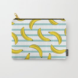 Banana summer fruits pattern on blue stripes Carry-All Pouch