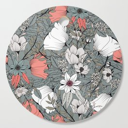 Seamless pattern design with hand drawn flowers and floral elements Cutting Board