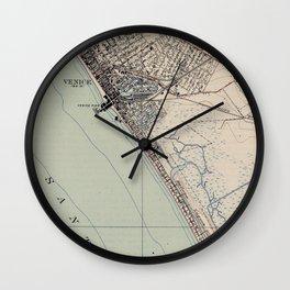 Vintage Map of Venice Beach California (1923) Wall Clock
