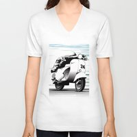 racing V-neck T-shirts featuring Racing by Don Paris Schlotman