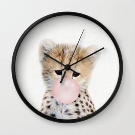 Bubble Gum Cheetah Cub Wall Clock