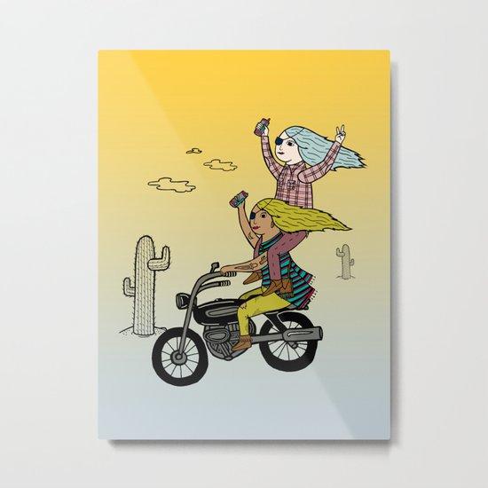 On the freedom experienced by Desert Bike Harpies.   Metal Print