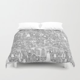 vintage halloween black white Duvet Cover
