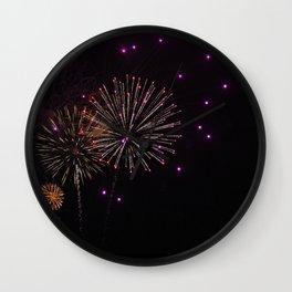 Purple Fireworks Wall Clock