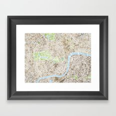 London Sepia watercolor map Framed Art Print