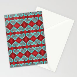 Abstract Turquoise and Bright Red Diamond Hearts Stationery Cards