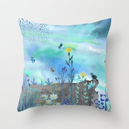 Blue Garden I Throw Pillow