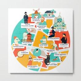 Montmartre Illustrated Map Metal Print