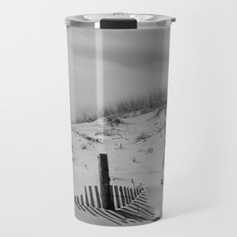 Buried Fences - Coastal Landscape Photo Black and White Travel Mug