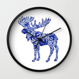 Gzhel Moose Wall Clock