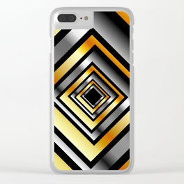 Composition with metallic squares-metal texture with illusion effectComposition with metallic square Clear iPhone Case