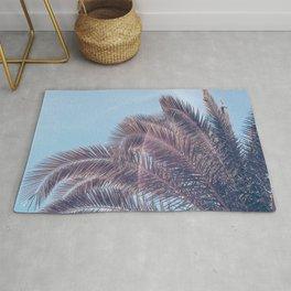 Summer Palm Leaf Print {2 of 3} | California Blue Color Sun Sky Beach Vibe Tropical Plant Nature Art Rug