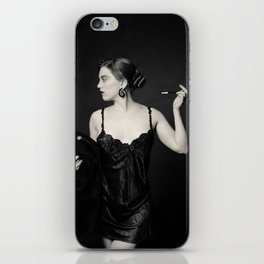 """""""A Noir Night Out"""" - The Playful Pinup - Modern Gothic Twist on Pinup by Maxwell H. Johnson iPhone Skin"""