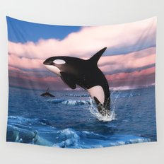 Killer whales in the Arctic Ocean Wall Tapestry