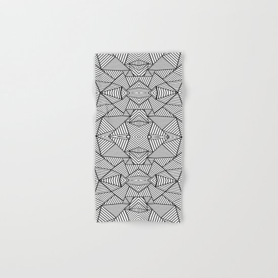 Abstract Mirror Black on White Hand & Bath Towel