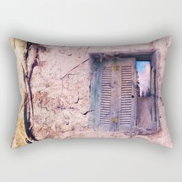 SOUL WINDOW - conceptual composing with old wall and open window Rectangular Pillow