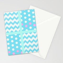 Pastel Chevron/Polkadot 1 #ArtofGaneneK #Blue #Pink Stationery Cards