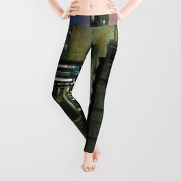 Chicago At Night Watercolor Painting Leggings