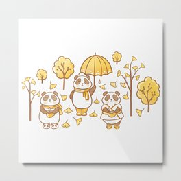 Pandas and ginkgo Metal Print