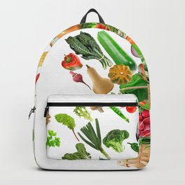 Basket of Healthy Food isolated On White Background Backpack
