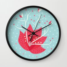 Exotic Winter Flower Wall Clock