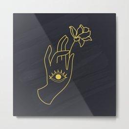 Lord Buddha's Hand With Eye Holding Lotus Flower Metal Print
