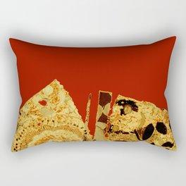 torn golden floral on red Rectangular Pillow