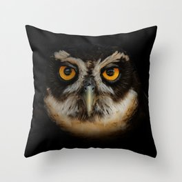 Trading Glances with a Spectacled Owl Throw Pillow