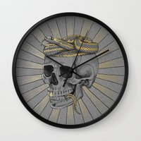 stay gold Wall Clocks featuring stay gold by Laura Graves