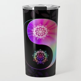 'Divine Balance' Yin Yang Black Pink Purple Blue Travel Mug