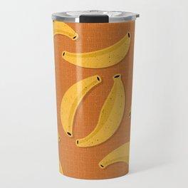 Banana Design - Fruit, Orange and Yellow, Banana Pattern Travel Mug