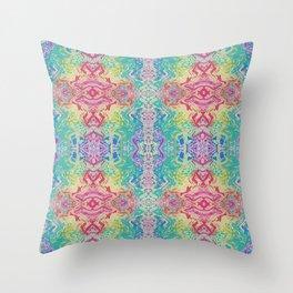 Rainbow Splash Watercolor Abstract Throw Pillow