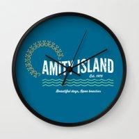 1975 Wall Clocks featuring Amity Island Vintage 1975 - Jaws by Dukesman