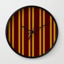 Burgundy and Mustard Yellow Stripes Wall Clock