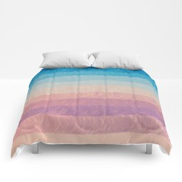 Geometrical navy blue pink watercolor ombre stripes Comforters