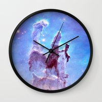 thanos Wall Clocks featuring nEBulA Pastel Blue & Lavender by 2sweet4words Designs