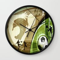 soccer Wall Clocks featuring Soccer by Robin Curtiss