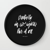 creativity Wall Clocks featuring Creativity by Caroline Sleeper