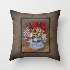 Cardinal Bouquet Throw Pillow