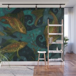 Golden Fish, Black Teal, Underwater Art Wall Mural