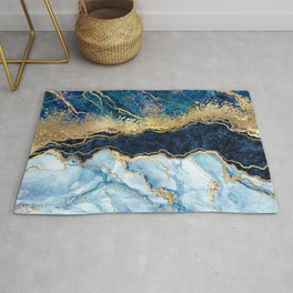 Abstract blue marble texture, gold foil and glitter decor, painted artificial indigo marbled surface, fashion marbling illustration Rug