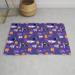 Cute Chibi Bat, Sweet Black Cat In Pumpkin And Funny Ghost By Hunted House | Purple BG Rug