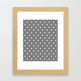 Grey With White Stars Pattern Framed Art Print
