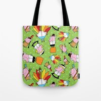 thanksgiving Tote Bags featuring Thanksgiving Crew by Pig & Pumpkin